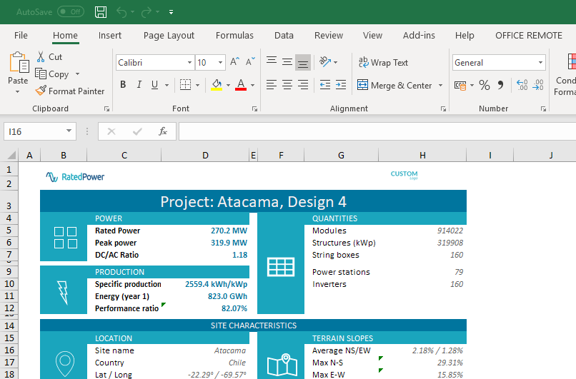 New project sheet Excel